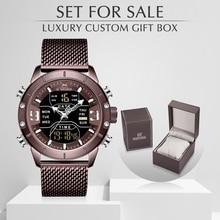 NAVIFORCE reloj deportivo para hombre, de cuarzo, de acero, resistente al agua, con caja, Masculino