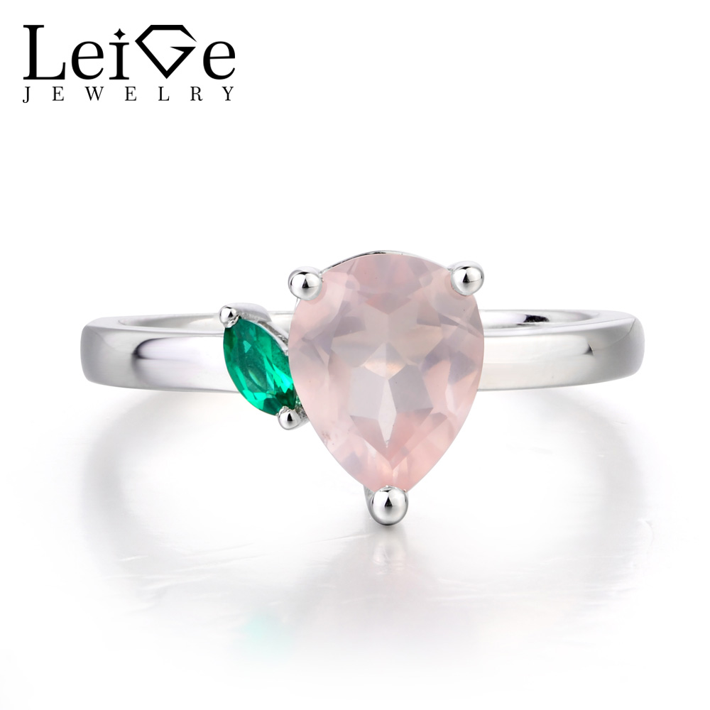 Leige Jewelry Anniversary Ring Natural Pink Quartz Ring Pear Cut Pink Gemstone 925 Sterling Silver Romantic Gifts for Women leige jewelry promise ring natural pink quartz ring oval cut pink gemstone 925 sterling silver ring romantic ring for women