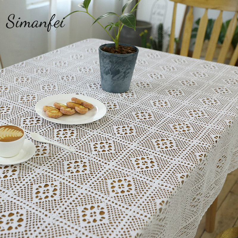 Simanfei Hollow Square Print Decorative Table Cloth Cotton Linen Lace Tablecloth Home Decor Dining Table Cover For Kitchen image