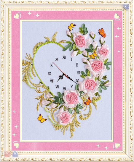 Rose Flowers Ribbon Embroidery Painting Set Clock Watch