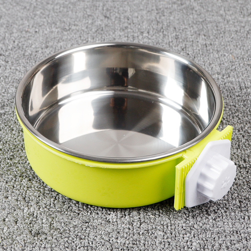 Crate Dog Bowl, Removable Stainless Steel Coop Cup Hanging Pet Cage Bowl Large Water Food Feeder for Dogs Cats Rabbits MayT3 (2)