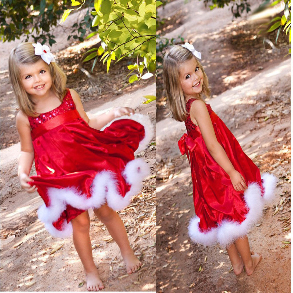 Cute Baby Girls Kids Christmas Party Red Paillette Tutu Dresses Christmas Gift