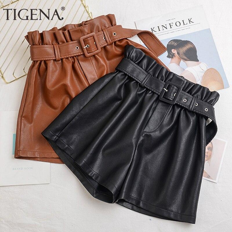 TIGENA Black PU Faux Leather   Shorts   Women 2019 Autumn Winter Korean High Waist   Shorts   Female Plus Size 5XL   Short   Pants Ladies