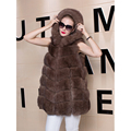 Genuine Fox Fur Vest Coat Women Winter 75cm Warm Real Leather Gilet Long Jacket Russian Natural Fox Fur Female Coats Outwear