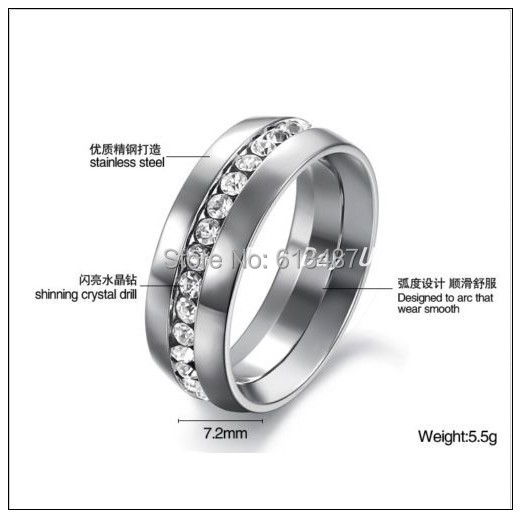 Promotion Sale Titanium Ring Mens Womens Wedding 316L Stainless Steel Engagement Silver Ring Shiny Cubic Zircon Unisex Jewelry