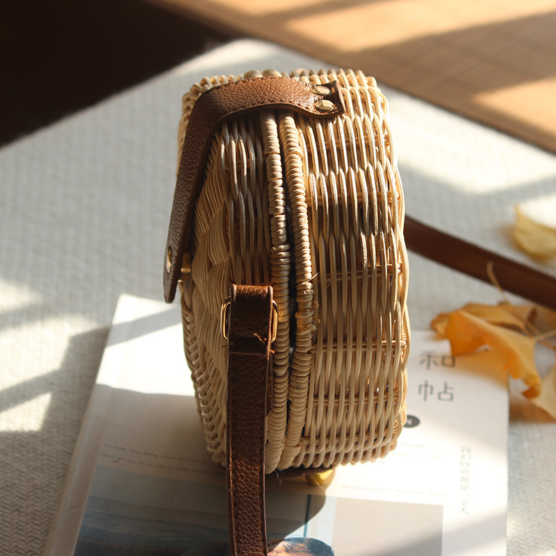 Round Rattan Bag Female Straw Beach Bag Holiday Bag Shoulder Diagonal Bag 4
