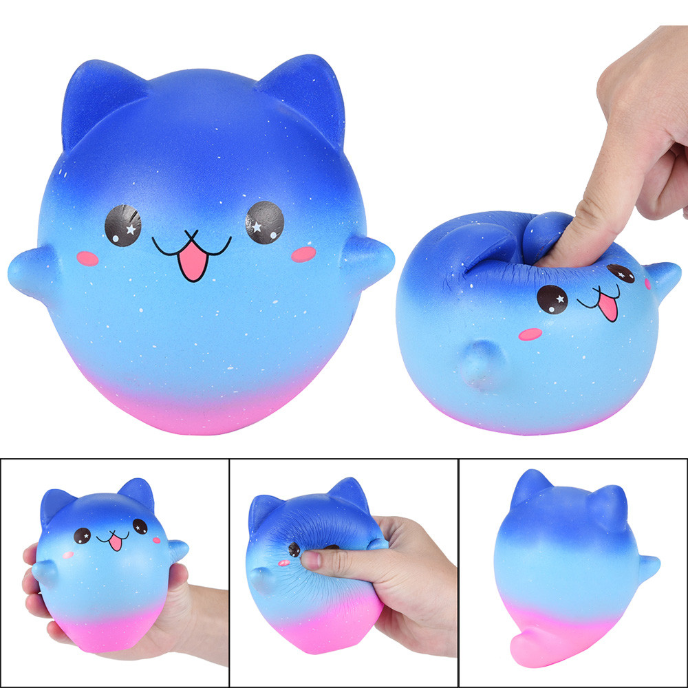 Cute Jumbo Cartoon Galaxy Kitty Squishies Scented Cream Super Slow Rising Squeeze Toy Squash Anti Stress Toy  HOOLER