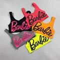Хорошее качество Барби письма культур топы для женщин/девушка мило конфеты цвета вскользь майки с bra pad уличной моды танки одежда