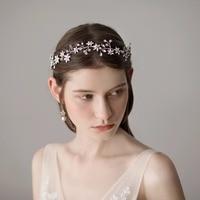 High Qualities Women Unique Sliver Flower Hairbands Handmade Hair Bands Bridal Wedding Hair Accessories O395