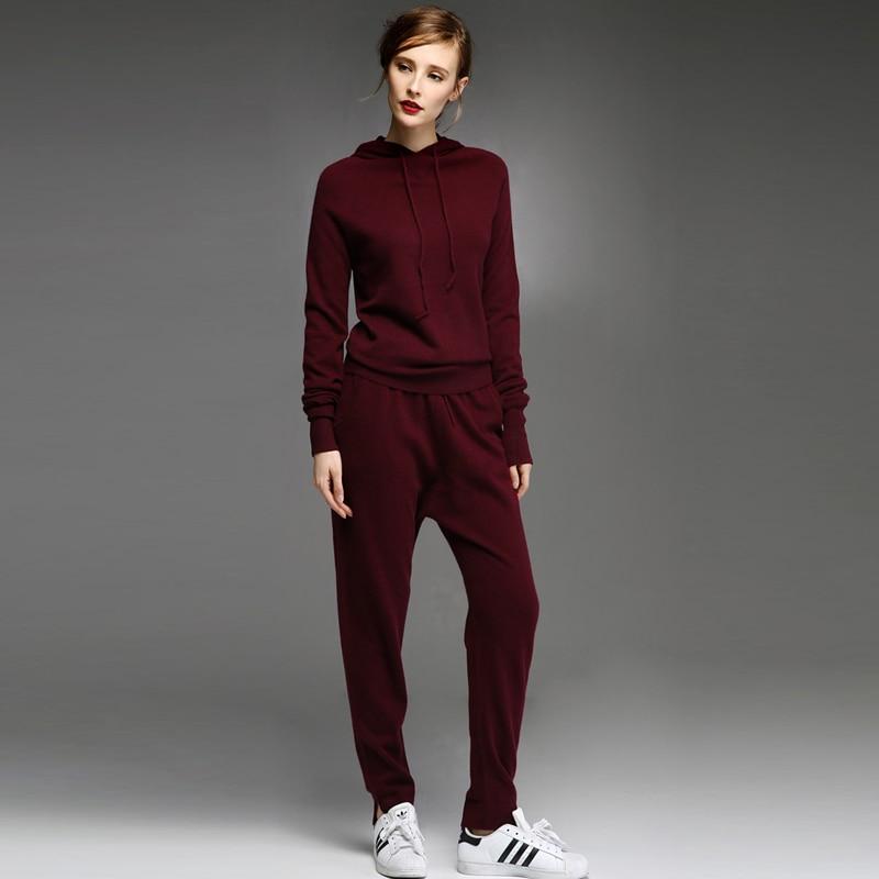 Adohon delle donne di inverno 100% maglioni di Cachemire e auntmun donne Pullover Set abbigliamento Donna lavorato a maglia di Alta Qualità Caldo Pantaloni Femminili top-in Completi da donna da Abbigliamento da donna su  Gruppo 1
