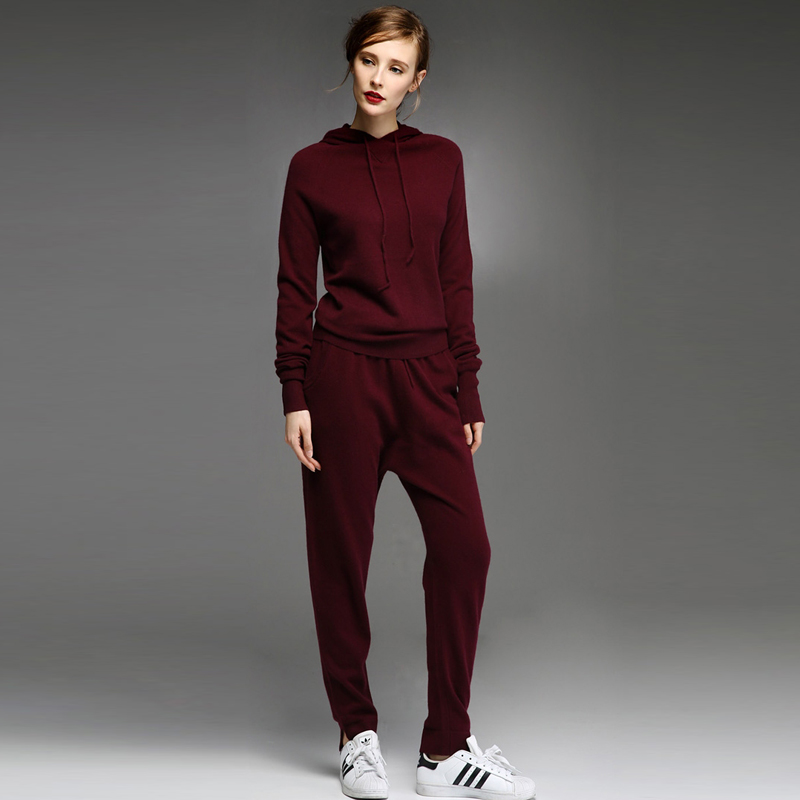 adohon womens winter 100% Cashmere sweaters and auntmun women Pullovers Women's Sets knitted High Quality Warm Female Pants tops