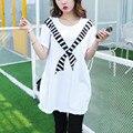 2017 camisa nova das mulheres t dress plus size mulheres mini dress manga curta Soltas Tops Casual imprimir vestidos túnica grande big 4xl algodão