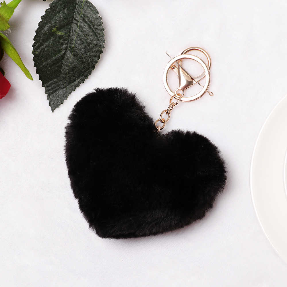 Bonito fofo pele pompom chaveiro macio adorável forma do coração pompom falso pele de coelho pom pompons bola carro bolsa chaveiro presente