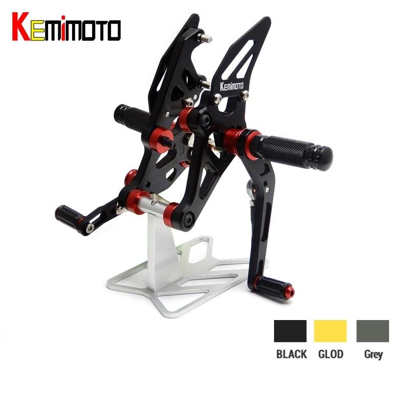 KEMiMOTO Pour Yamaha MT 07 FZ07 MT07 CNC Réglable Arrière Ensemble Commandes Reculées Repose-pieds pour YAMAHA MT-07 FZ-07 FZ 07 2014 2015 2016