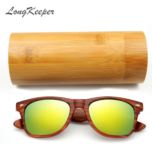 a071f9632fb5 LongKeeper Imitation Wooden Sunglasses Women Men With Coating Mirrored Sun glasses  UV400 Protection Lenses in Wooden