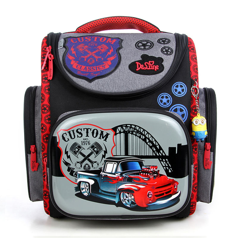 Hot Sale Brand Delune Children Truck Pattern School Bags Orthopedic Kids Backpack For Primary School Student Baby Boys Schoolbag 2016 time limited sale school bags orthopedic backpack kids elementary schoolbag children ergonomic primary nylon boy backpacks