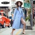 MOFFI women sky blue wool coat,female fashion turn-down collar wool coat 165253