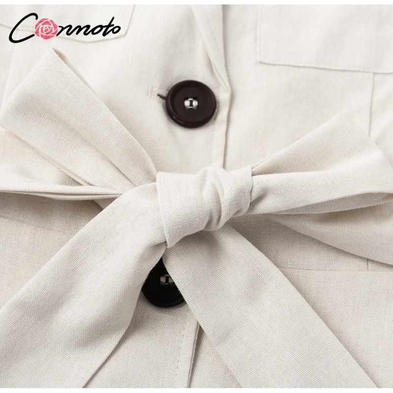 Conmoto Elegant Short Blazer Women Dress Sexy Bow Belt Tie Solid Mini Dress Linen Button Beach Wrap Party Dresses Shirt Vestidos 12