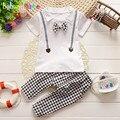 2016 Nuevo Verano Del Bebé Trajes de Niño Niños Ropa Para Niños Ropa de Moda corbata de Lazo de la camiseta + Pant 2 unids conjunto 0-3Year Niños BC1134