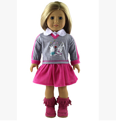 1set dress American girl doll clothes for 18inch doll clothes for children best gift B20 9 colors american girl doll dress 18 inch doll clothes and accessories dresses