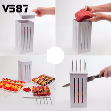 16 Holes Meat Skewer Kebab Maker BBQ Kabob Maker Kabob Maker Box Machine Beef Meat Maker with 32 Bamboo Skewers