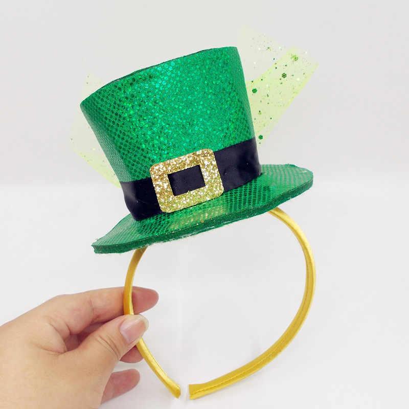 Saint Patrick traje de duende sombrero accesorio de diadema Irlanda trébol  partido verde irlandés sombreros de db655957acc0