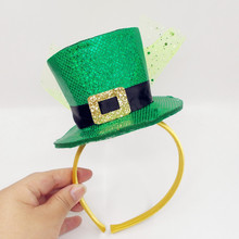 Saint Patrick Costume Leprechaun Top Hat  Accessory cap Headband Ireland Clover Green Party Irish Hats st patrick's day hairband стоимость