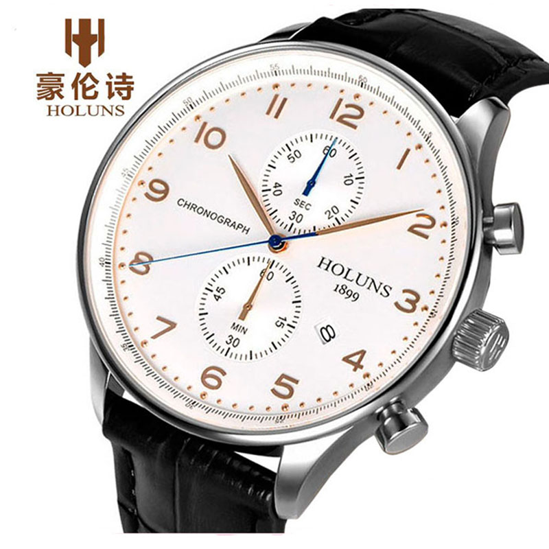 HOLUNS Watch Mens Top Brand Chronograph Genuine Leather