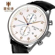 HOLUNS الأصلي ساعة رجالي العلامة التجارية الأعلى كرونوغراف رجال الأعمال جلد طبيعي فستان التقويم ساعة ساعة الذكور Relogio Masculino