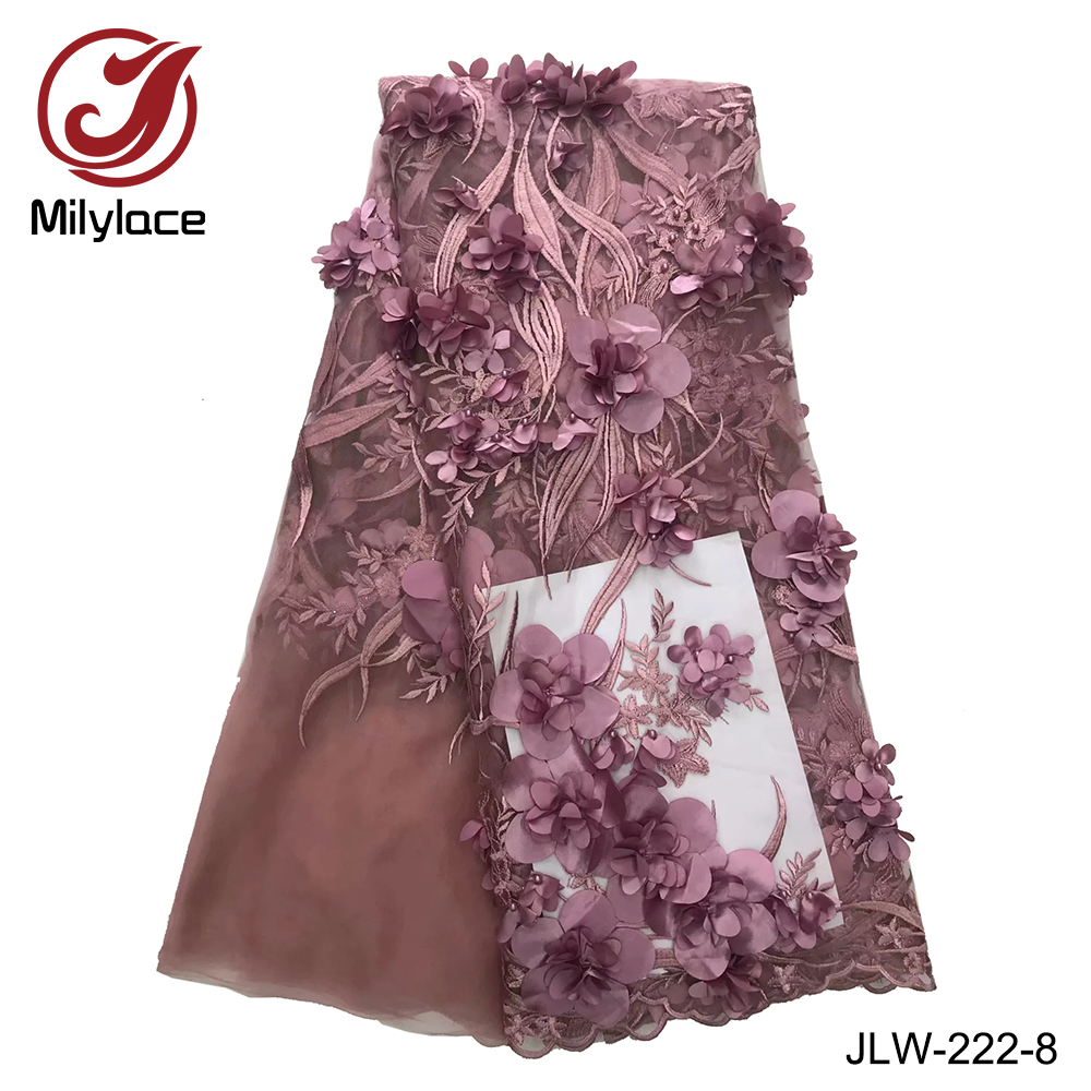 Popular design french lace fabric beaded 3d flowers fabric bridal wedding party dress lace lilac tulle