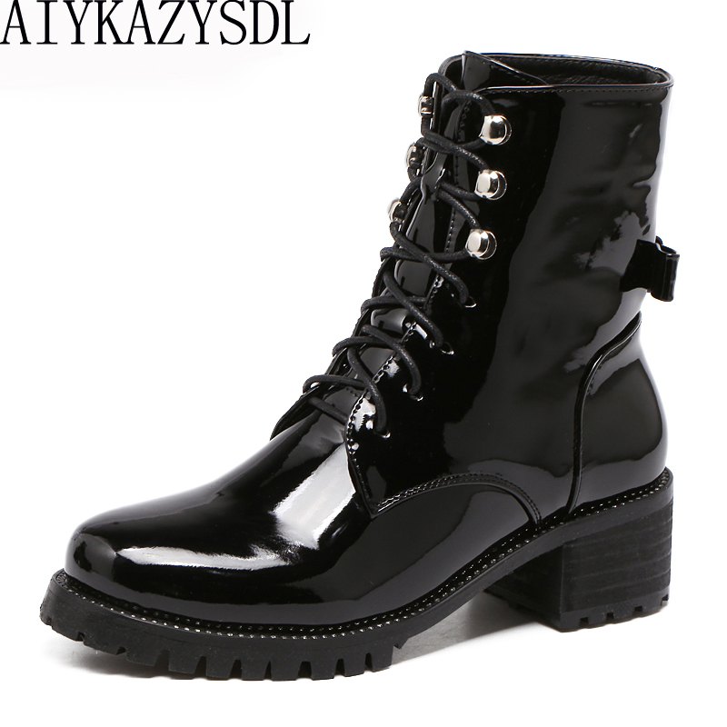 AIYKAZYSDL Women Motorcycle Biker Ankle Boots Faux Patent Leather Rhinestone Crystal Bootie Bow Butterfly Knot Shoes Thick Heels hongyi women motorcycle biker ankle boots glossy leather rhinestone crystal ridding bootie bow butterfly knot shoes thick heels