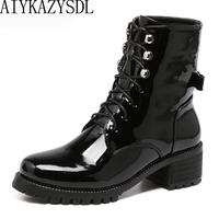 AIYKAZYSDL Women Motorcycle Biker Ankle Boots Faux Patent Leather Rhinestone Crystal Bootie Bow Butterfly Knot Shoes Thick Heels