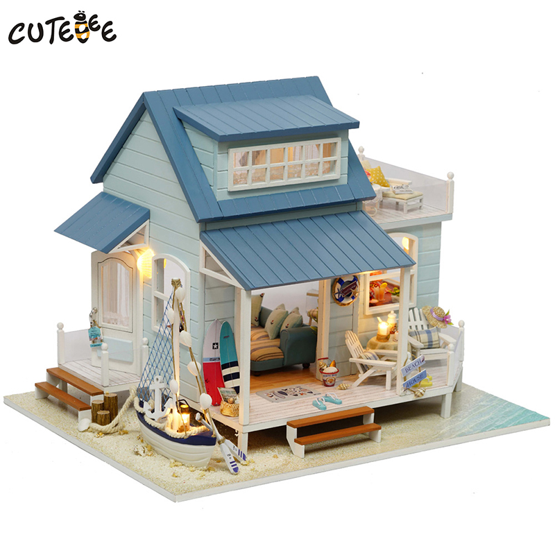 CUTEBEE Doll House Miniature DIY Dollhouse With Furnitures Wooden House Toys For Children Birthday Gift Caribbean Sea A037 diy miniature wooden dollhouse caribbean sea cute room with music big doll house toy for girl birthday gift christmas present