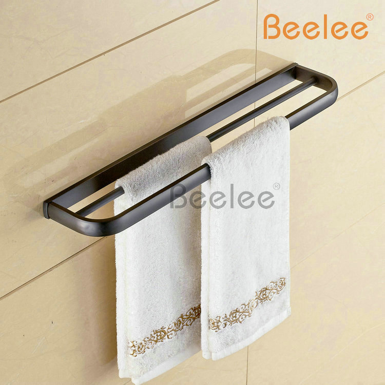 Beelee BL7702B  Copper Black Towel Rack Single Pole Towel Rack Bathroom Towel Hanging Bathroom Accessories Double Towel Bars stainless steel bathroom towel rack rotation activities bar single pole double hanging three bathrooms