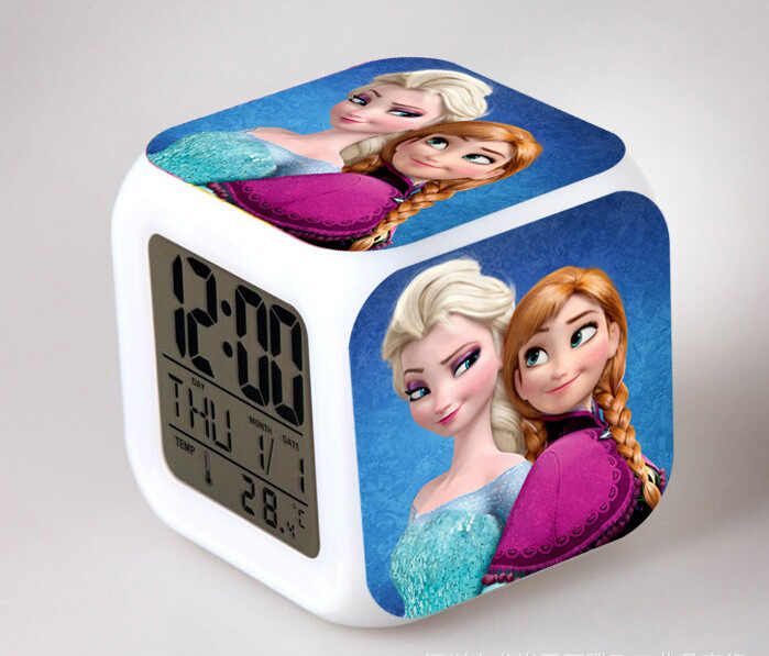 Hot Film Princess Anna & Elsa Olaf The Snowman LED 7 Warna Flash Chaging Digital Alarm Jam Anak Bedroom Malam cahaya Jam
