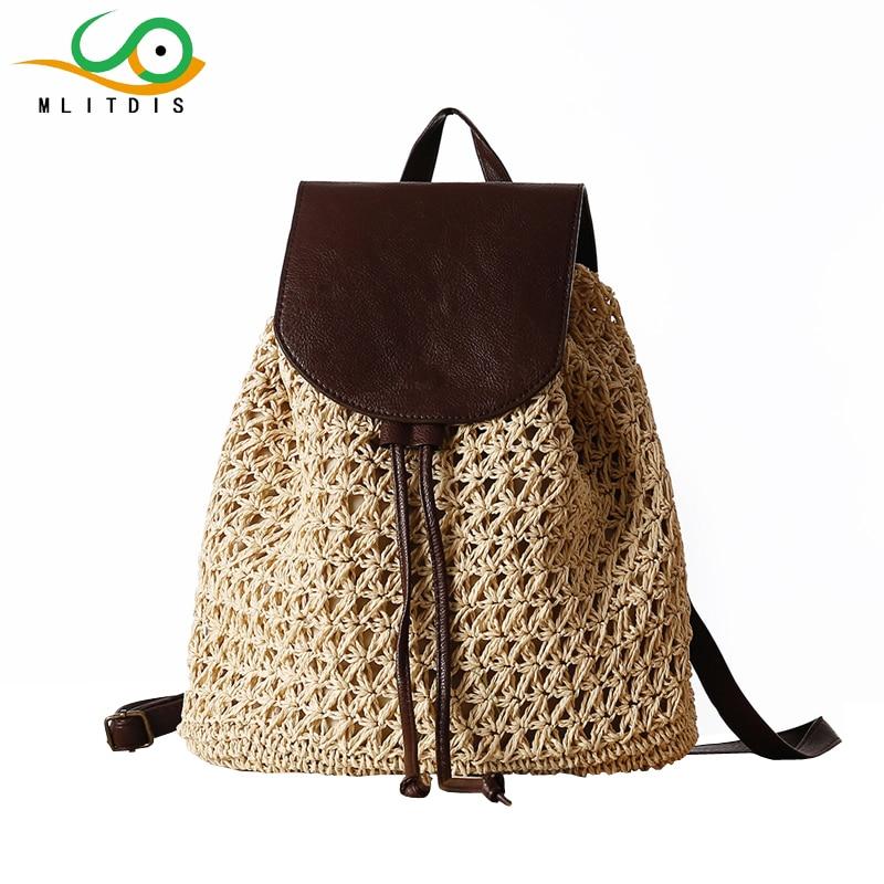 MLITDIS 2017 Vintage Straw Fashion Women Backpacks Drawstring Woven Bucket Bag Laides Bags Small Summer Beach Backpack For Girls black drawstring bucket woven beach bag