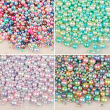 No Hole Mix Rainbow Color Round 4/6/8/10mm ABS Imitation Pearl Beads Loose Beads Diy Jewelry Necklace Making for women 50-500PCS(China)