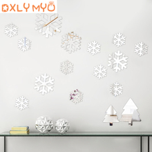 Christmas snowflake sticker 3d acrylic mirror wall stickers kids room decoration bedroom door living decor decals