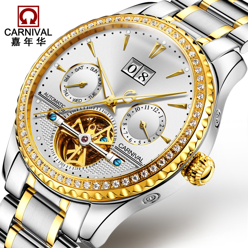 2017 Carnival Automatic Mechanical Watch Diamond Full Steel Sapphire Waterproof Luminous Male Luxury Famous Brand Watch Relogio sollen mens automatic mechanical watch diamond gold full steel sapphire waterproof luminous male luxury top brand watches reloj