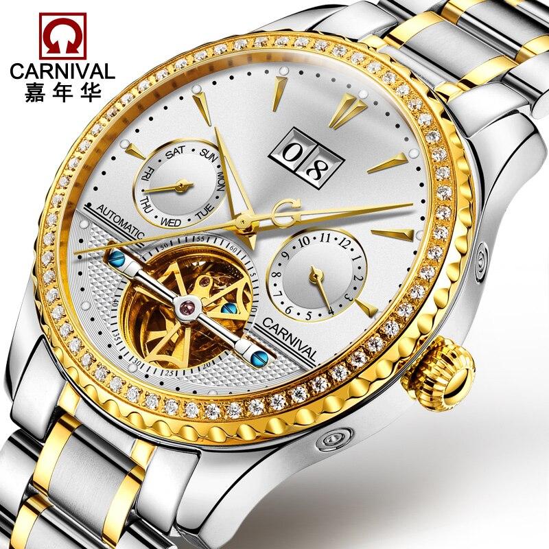 2018 Carnival automatisch mechanisch horloge Diamond Full Steel - Herenhorloges