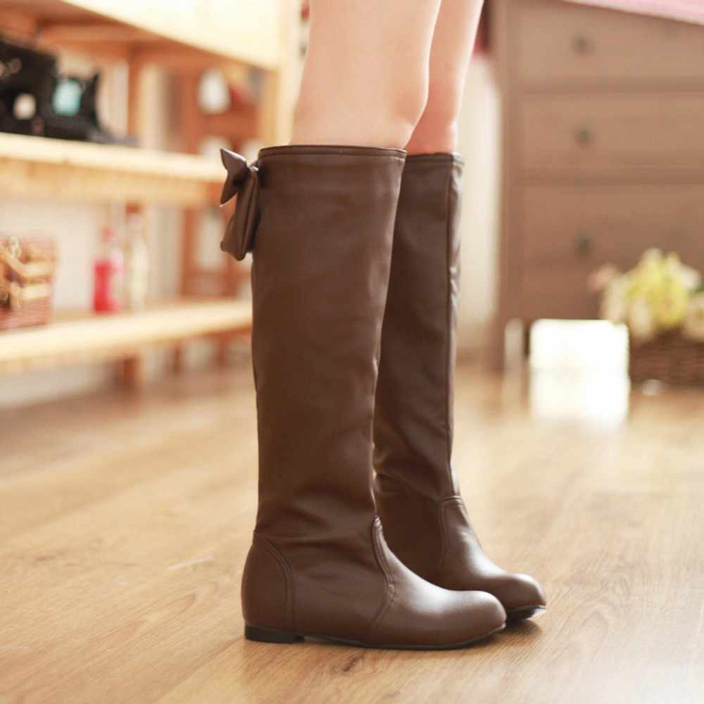 YOUYEDIAN Vrouwen Laarzen 2018 Boog Knie Hoge Laarzen Winter Vrouwelijke Schoenen Casual Platte Lage Hak Laarzen Bottes Femme