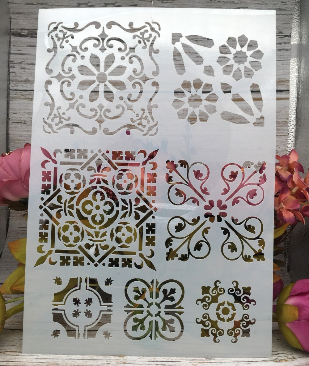 A4 Flowers Frame DIY Layering Stencils Wall Painting Scrapbook Coloring Embossing Album Decorative Paper Card Template