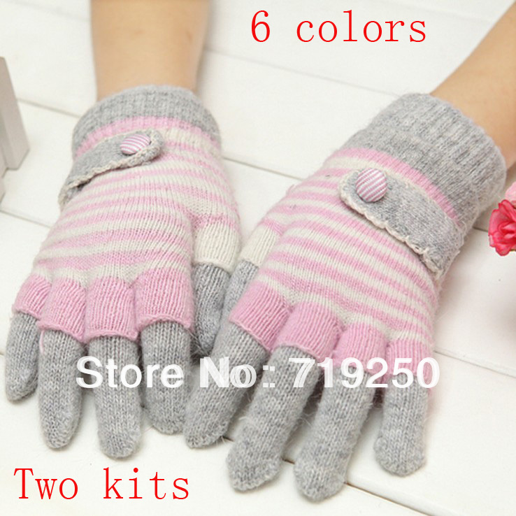 2016 Hot Sale free Shippingwomen's Rabbit Knitted Gloves Lovely Winter Pure Manual Weaving Upset Warm Fashion Gloves6 Colors