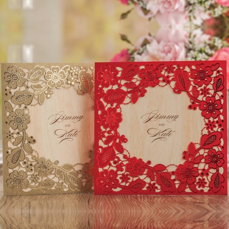 Champagne Lace Window Square Invitation Cards Business