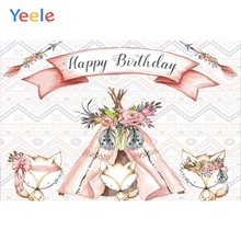 Yeele Girl Birthday Anadem Clever Foxes Pink Ribbon Photography Backdrops Personalized Photographic Backgrounds For Photo Studio