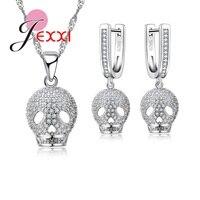 JEXXI New Fashion 925 Sterling Silver Filled CZ Diamond Crystal Skull Pattern Jewelry Sets Pendant Necklace