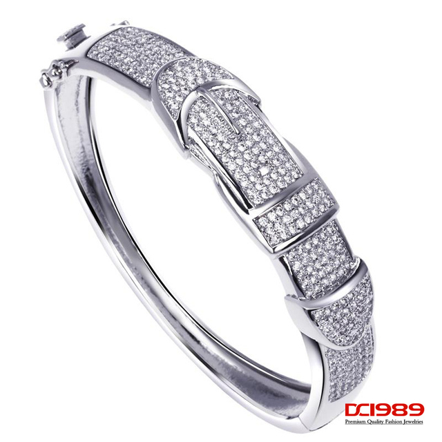 DC1989 Women's Belt Design Deluxe CZ Bangles Rhodium or Gold Plated AAA Quality Cubic Zirconia Setting Bridal Jewelries
