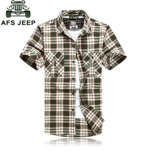 3XL 4XL 5XL 2017 Summer Plaid Men Cotton Short Sleeve Dress Shirts Camisa Hombre Patchwork Blouse Vestido Men Clothes Casual