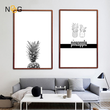 цена на NOOG Pineapple Wall Art Canvas Posters Prints Nordic Minimalist  Paintings Black White Wall Picture for Living Room Decoration