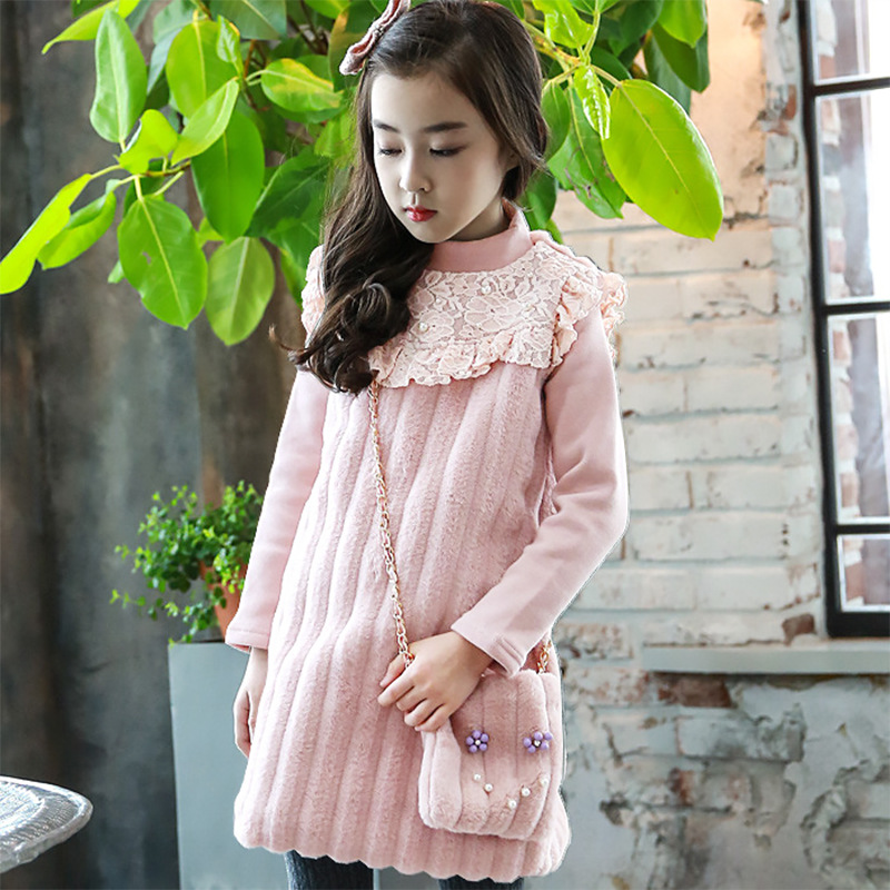 Autumn Time-limited Polyester Knee-length Pockets Full And Winter Clothing Korean Girls Dress 2017 New Child Stitching Princess full length tee dress